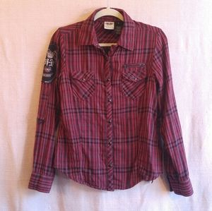 Harley Plaid Lined Burgundy Hue Applique Shirt